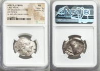 ATTICA. Athens. Ca. 455-440 BC. AR tetradrachm (25mm, 17.18 gm, 10h). NGC AU 5/5 - 5/5. Early transitional issue. Head of Athena right, wearing creste...