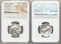 ATTICA. Athens. Ca. 440-404 BC. AR tetradrachm (24mm, 17.19 gm, 2h). NGC MS 4/5 - 5/5, die shift. Mid-mass coinage issue. Head of Athena right, wearin...