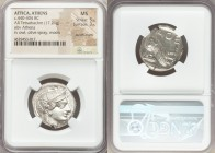 ATTICA. Athens. Ca. 440-404 BC. AR tetradrachm (24mm, 17.21 gm, 3h). NGC MS 5/5 - 3/5, punch marks. Mid-mass coinage issue. Head of Athena right, wear...