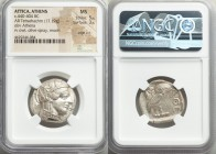 ATTICA. Athens. Ca. 440-404 BC. AR tetradrachm (26mm, 17.19 gm, 11h). NGC MS 5/5 - 3/5, edge cut. Mid-mass coinage issue. Head of Athena right, wearin...