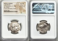 ATTICA. Athens. Ca. 440-404 BC. AR tetradrachm (25mm, 17.18 gm, 2h). NGC Choice AU 5/5 - 4/5. Mid-mass coinage issue. Head of Athena right, wearing cr...