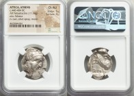 ATTICA. Athens. Ca. 440-404 BC. AR tetradrachm (23mm, 17.18 gm, 3h). NGC Choice AU 5/5 - 4/5. Mid-mass coinage issue. Head of Athena right, wearing cr...