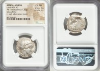 ATTICA. Athens. Ca. 440-404 BC. AR tetradrachm (24mm, 17.20 gm, 6h). NGC Choice AU 4/5 - 4/5. Mid-mass coinage issue. Head of Athena right, wearing cr...