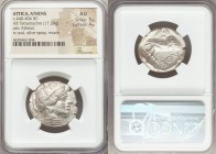 ATTICA. Athens. Ca. 440-404 BC. AR tetradrachm (27mm, 17.20 gm, 8h). NGC AU 5/5 - 4/5. Mid-mass coinage issue. Head of Athena right, wearing crested A...