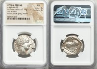 ATTICA. Athens. Ca. 440-404 BC. AR tetradrachm (27mm, 17.16 gm, 2h). NGC AU 4/5 - 4/5. Mid-mass coinage issue. Head of Athena right, wearing crested A...