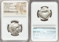 ATTICA. Athens. Ca. 440-404 BC. AR tetradrachm (25mm, 17.16 gm, 7h). NGC Choice XF 4/5 - 4/5. Mid-mass coinage issue. Head of Athena right, wearing cr...