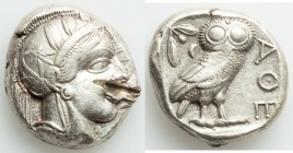 ATTICA. Athens. Ca. 440-404 BC. AR tetradrachm (25mm, 17.18 gm, 10h). VF, test cut. Mid-mass coinage issue. Head of Athena right, wearing crested Atti...
