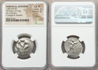 PAMPHYLIA. Aspendus. Ca. 380-325 BC. AR stater (24mm, 10.72 gm, 1h). NGC Choice VF 2/5 - 3/5, brushed. Two wrestlers grappling, dotted border / EΣTFEΔ...