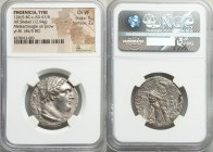 PHOENICIA. Tyre. Ca. 126/5 BC-AD 67/8. AR shekel (28mm, 12.94 gm, 1h). NGC Choice VF 5/5 - 2/5. Dated Civic Year 81 (46/5 BC). Laureate bust of Melqar...