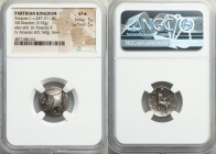 PARTHIAN KINGDOM. Arsaces I (ca. 247-211 BC). AR drachm (18mm, 3.92 gm, 1h). NGC VF S 5/5 - 5/5. Hecatompylus mint. Head of Arsaces I left, wearing ba...