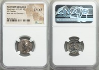 PARTHIAN KINGDOM. Sinatruces (ca. 93-69 BC). AR drachm (19mm, 11h). NGC Choice XF. Rhagae. Diademed bust of Sinatruces left, wearing tiara ornamented ...