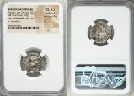 PERSIS KINGDOM. Pakor I (1st century AD). AR drachm (21mm, 4.02 gm). NGC Choice AU 4/5 - 4/5. Diademed bust left, dotted border / Triskeles, legend ar...