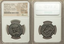 DECAPOLIS. Petra. Caracalla (AD 198-217). AE (28mm, 15.90 gm, 12h). NGC Choice Fine 4/5 - 3/5, countermark. M AVP-ANTΩN CЄT, laureate, draped and cuir...