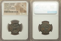 SAMARIA. Sebaste. Domitian (AD 81-96). AE (25mm, 12.09 gm). NGC Fine, countermarks. Laureate head of Domitian right, uncertain counterstamps / Tyche s...