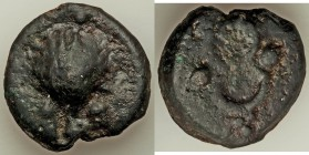 Anonymous. Ca. 280 BC. AE aes grave sextans (36mm, 49.52 gm, 6h). About VF. Rome mint. Scallop shell; •• (mark of value) below / Caduceus; •• (mark of...