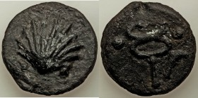 Anonymous. Ca. 240 BC. AE aes grave sextans (37mm, 43.27 gm, 6h). VF. Rome mint. Scallop-shell; •• (mark of value) below / Caduceus; sickle to right; ...