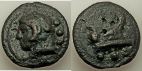 Anonymous. Ca. 225-217 BC. AE aes grave quadrans (40mm, 69.63 gm, 12h). VF. Rome mint. Head of Hercules left, wearing lion skin; ••• (mark of value) b...