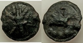 Anonymous. Ca. 225-217 BC. AE aes grave quatrunx (30.5mm, 29.89 gm, 9h). VF. Libral standard. Luceria mint. Thunderbolt on a raised disk / Club; •••• ...