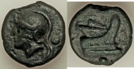Anonymous. Ca. 225-217 BC. AE aes grave uncia (25mm, 19.96 gm, 1h). VF. Rome mint. Helmeted head of Roma left; • (mark of value) behind / Prow of gall...