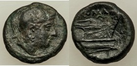 Anonymous. Ca. 217-215 BC. AE quartuncia (15mm, 2.77gm, 12h). About VF. Rome. Helmeted head of Roma right / Prow of galley right. Crawford 38/8.  HID0...