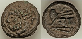Anonymous. Ca. 215-212 BC. AE aes grave semis (32mm, 33.36 gm, 12h). VF. Rome mint. Laureate head of Saturn left; S (mark of value) behind / Prow of g...