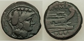 Anonymous. After 211 BC. AE triens (24mm, 8.19 gm, 9h). About VF. Uncertain mint. Helmeted head of Minerva right; four pellets above / ROMA, prow righ...
