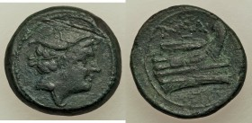 Anonymous. After 211 BC. AE semuncia (16mm, 5.62 gm, 3h). About VF, scratches. Rome. Draped bust of Mercury right, wearing winged petasus / Prow of ga...