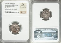 Anonymous (ca. 206-195 BC). AR denarius (19mm, 3.92 gm, 8h). NGC AU 5/5 - 5/5. Star series. Rome. Head of Roma right, wearing helmet decorated with gr...