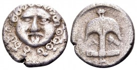 Thrace, Apollonia Pontika. Mid-late 4th century BC. AR drachm, 2.76 g. Facing gorgoneion / Anchor; A to left, crayfish to right. SNG Cop. 456. Nearly ...