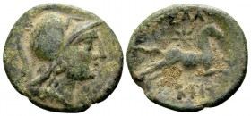 Macedon, Thessalonica. Pseudo-autonomous, ca. 187-31 BC. Æ18, 3.9 g. Helmeted head of Athena right / ΘΕΣΣΑΛΟ [ΝΙ]ΚΗΣ horse galloping right; above: sta...