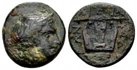 Macedon, Chalcidian League. Olynthos, ca. 432-348 BC. Æ15, 3.52 g. Laureate head of Apollo right / XAΛKIΔEΩN five-stringed kithara. SNG ANS 552-553. V...
