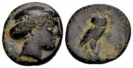 Macedon, Pydna. Ca. 369-364 BC. Æ15, 3.64 gr. Head of Artemis right / owl standing right, head facing, on grain-ear. SNG ANS 701 var. (Artemis and owl...