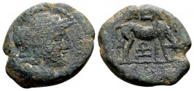 Macedon, Pella. Ca. 187-167 BC. Æ22, 6.46 g. Helmeted head of Athena right / ΠΕΛ ΛHΣ cow grazing right; monogram below. SNG ANS 598-617. Nearly very f...