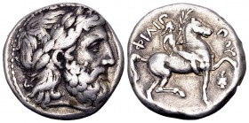 Kingdom of Macedon, Philip II. Amphipolis, 342-328 BC. AR tetradrachm, 14.4 g. Laureate head of Zeus right / Youth on horseback right, holding palm an...