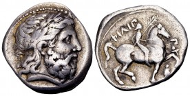 Kingdom of Macedon, Philip II. Amphipolis, 342-328 BC. AR tetradrachm, 14.33 g. Laureate head of Zeus right / Youth on horseback right, holding palm a...