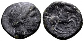 Kingdom of Macedon, Philip II. Uncertain mint in Macedon, 315-295 BC. Æ18, 6.46 g. Head of Apollo rightt / ΦIΛIΠΠOY youth on horseback right; below: t...