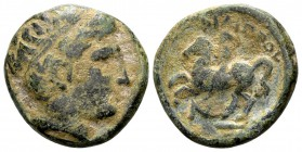 Kingdom of Macedon, Philip II. Uncertain mint in Macedon, 315-295 BC. Æ17, 6.16 g. Head of Apollo right / ΦIΛIΠΠOY youth on horseback left; below: N. ...