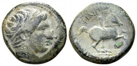 Kingdom of Macedon, Philip II. Uncertain mint in Macedon, 315-295 BC. Æ17, 6.45 g. Head of Apollo right / ΦIΛIΠΠOY youth on horseback right; below: H....