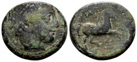 Kingdom of Macedon, Philip II. Uncertain mint in Macedon, 315-295 BC. Æ20, 8.64 g. Head of Apollo right / ΦIΛIΠΠOY youth on horseback right; before: A...