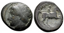 Kingdom of Macedon, Philip II. Uncertain mint in Macedon, 315-295 BC. Æ17, 6.56 g. Head of Apollo left / ΦIΛIΠΠOY youth on horseback right; below: thu...