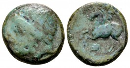 Kingdom of Macedon, Philip II. Uncertain mint in Macedon, 315-295 BC. Æ16, 5.95 g. Head of Apollo left / ΦIΛIΠΠOY youth on horseback left; below: prow...