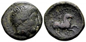 Kingdom of Macedon, Philip II. Uncertain mint in Macedon, 315-295 BC. Æ17, 5.20 g. Head of Apollo right / ΦIΛIΠΠOY youth on horseback right; below: tr...