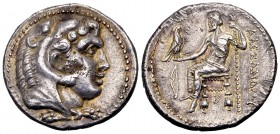 Kingdom of Macedon, Alexander III. Salamis, 332-320 BC. AR tetradrachm, 17.06 g. Lifetime issue. Young herakles in lion's skin right. / AΛEΞANΔΡOΥ Zeu...
