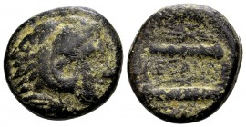 Kingdom of Macedon, Alexander III. Uncertain mint in Macedon, 336-323 BC. Æ17, 7.43 g.  Head of young Herakles right, wearing lion skin / ΑΛEΞΑΝΔΡΟΥ b...