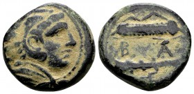 Kingdom of Macedon, Alexander III. Uncertain mint in Macedon, 325-310 BC. Æ17, 6.47 g.  Head of young Herakles right, wearing lion skin / B Α bow, qui...