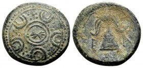 Kingdom of Macedon, Alexander III. Uncertain mint in Macedon, 325-310 BC. Æ16, 4.88 g. Macedonian shield with boss decorated with thunderbolt / B A Ma...