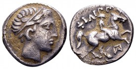 Kingdom of Macedon, Philip III Arrhidaios. Amphipolis, 323-318 BC. AR hemidrachm, 2.39 g. Laureate head of Apollo right / ΦIΛIΠΠOY rider on horseback ...