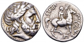 Kingdom of Macedon, Philip III Arrhidaios.  Amphipolis, 315-295 BC. AR tetradrachm, 14.14 g. Laureate head of Zeus right / Youth on horseback right, h...