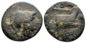 Kingdom of Macedon, Demetrios I Poliorketes. Uncertain mint in Asia Minor, 306-283 BC.  AE15, 2.35 g. Helmeted head of Athena right / B A prow right; ...