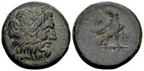 Kingdom of Macedon, Ptolemy Keraunos. 281-279 BC. Æ20 (tetrachalkon?), 8.69 g. Laureate head of Zeus right / Eagle standing right on ground line; NK m...